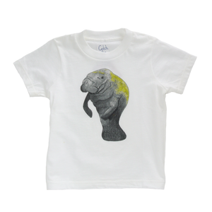 This White Manatee toddler tee is the perfect gift for every ocean lover. The soft cotton and eco printed Manatee hold colors for even the most adventurous kid! Multiple washes with no fading. Show you love the ocean by wearing Shrimp 'n Lobster apparel!