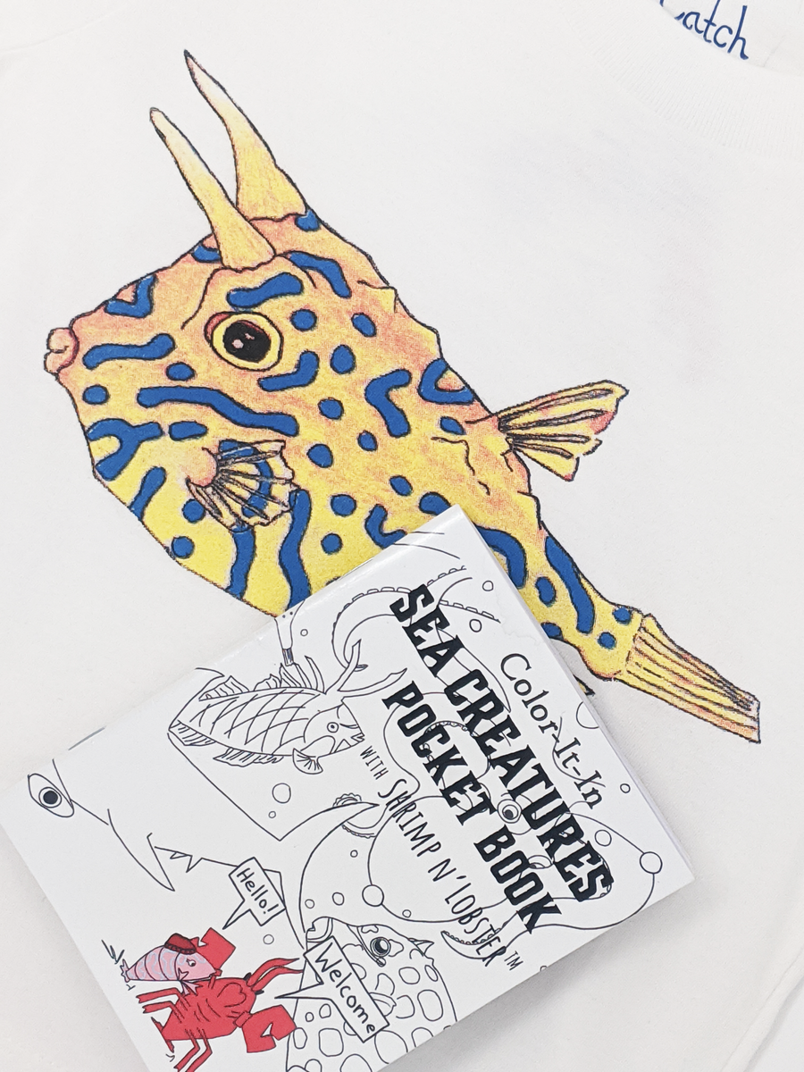 Every Sea Creature printed apparel comes with a FRE Sea Creatures Coloring book. Learn about the curious Cowfish as you wear it! A perfect gift combo for every adventurous kid!