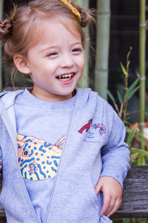 Pair our one of a kind sea creatures print hoodie with a Sea Creature Toddler Tee! Our toddler tee's are great of layering. A perfect gift for any ocean loving kid.