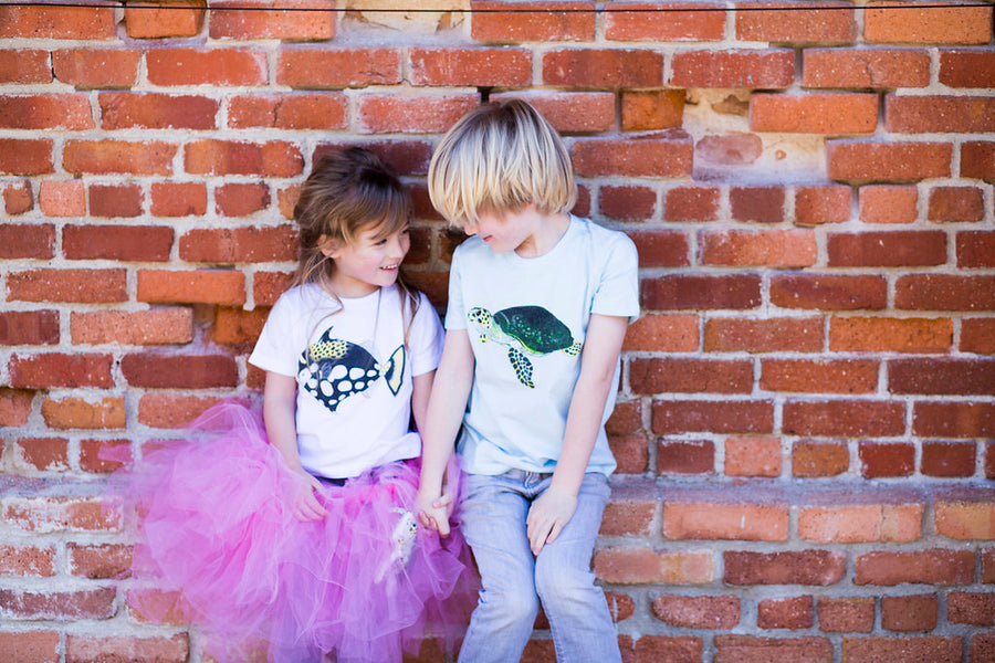 Shrimp 'n Lobster apparel is fun to mix and match! Collect a Triggerfish toddler tee with a Sea Turtle Tee! It's a fun way to show off how much you love the ocean!