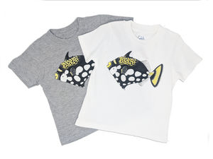 Our Triggerfish toddler tee comes in both grey and white t-shirts! Match your favorite tee with a hoodie! It's a fun way to show off how much you love the oceans!