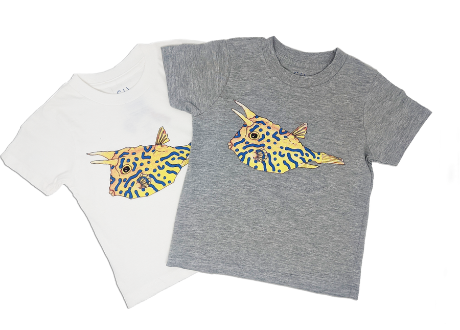Our Cowfish toddler tee comes in both grey and white t-shirts! Match your favorite tee with a hoodie! It's a fun way to show off how much you love the oceans!