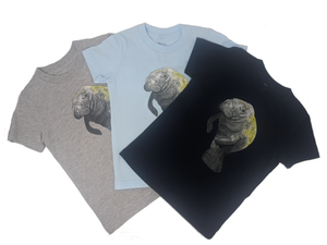 This Manatee toddler tee is the perfect gift for every ocean lover. The soft cotton and eco printed Manatee hold colors for even the most adventurous kid! Multiple washes with no fading. The manatee comes in both baby blue, navy and grey toddler tee. Show you love the ocean by wearing Shrimp 'n Lobster apparel!