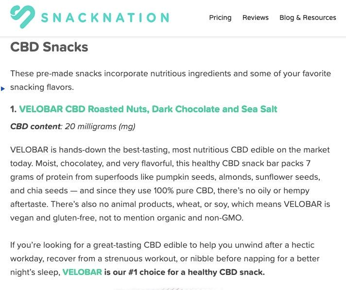 SnackNation CBD Edibles Guide: VELOBAR Rated #1 CBD Snack!