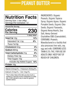 Velobar Hemp Extract Protein Bar Peanut Butter Nutrition Facts and Ingredients List