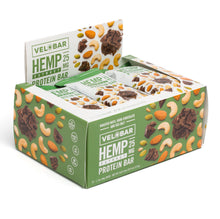 Load image into Gallery viewer, Velobar Hemp Extract 25mg CBD Roasted Nuts Dark Chocolate and Sea Salt 12-pack