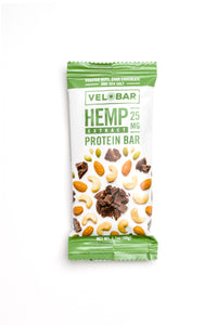 12-pack Velobar ROASTED NUTS, DARK CHOCOLATE AND SEA SALT Hemp Extract CBD 25mg Protein Bar