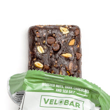 Load image into Gallery viewer, 12-pack Velobar ROASTED NUTS, DARK CHOCOLATE AND SEA SALT Hemp Extract CBD 25mg Protein Bar