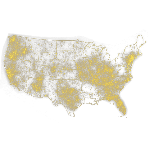 A map of the USA with dots showing the density of where Hydrolyte sales take place