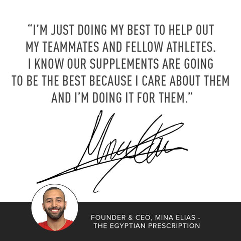 "Image of CEO of MMA Nutrition, Mina Elias, quoting ""I'm just doing my best to help out my teammates and fellow athletes. I know our supplements are going to be the best because I care about them and I'm doing it for them."
