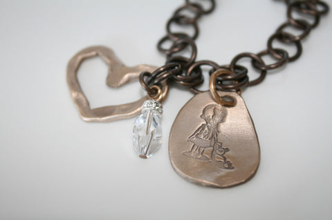 Be Brave Girl Brass Chain Bracelet with Open Bronze Heart