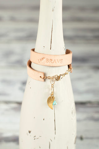 Girls Leather I am Brave Bracelet
