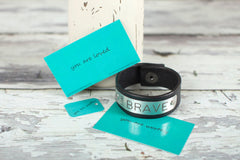 Pure Leather I am Brave Plated Bracelet