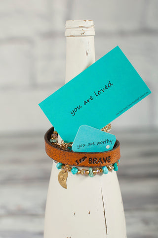 Women's Pure Leather I am Brave Bracelet