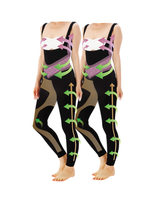 Kokokyutto Compression Suit (Leggings + Inner) Black (Twin Pack)
