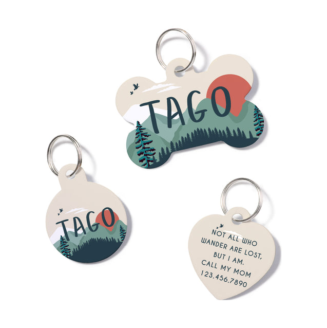 Personalisierte Mountain Forest Pet ID Tag
