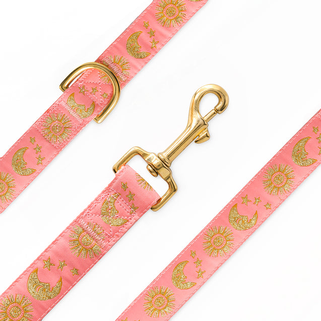 Suns Moons Stars Leash (Coral Pink)