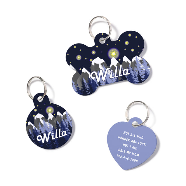 Personalized Winter Mountain Landscape Pet ID Tag