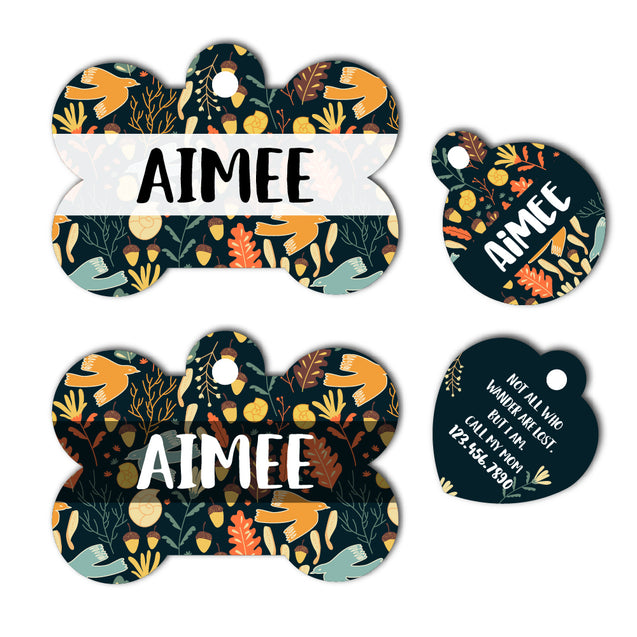 Personalized Autumn Pet ID Tag