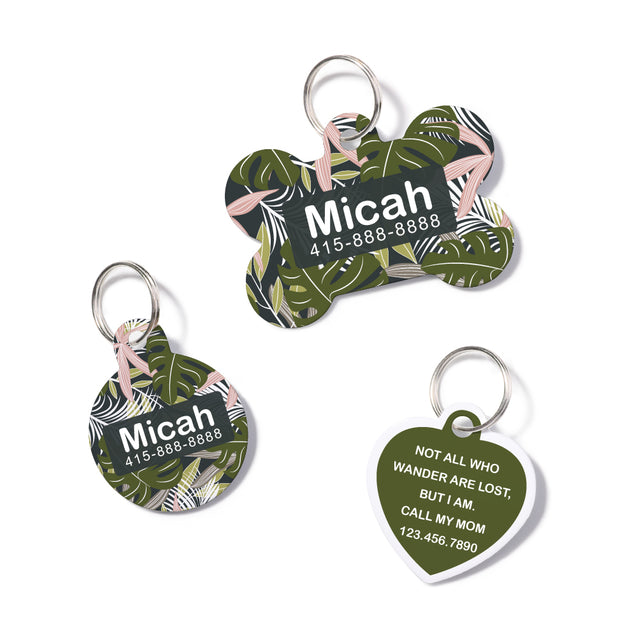 Personalized Tropical Leaves Pet ID Tag