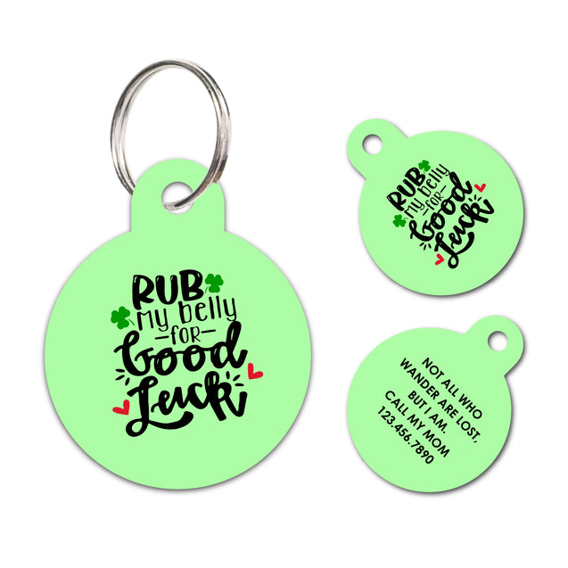 Personalized Funny Pet ID Tag Rub My Belly