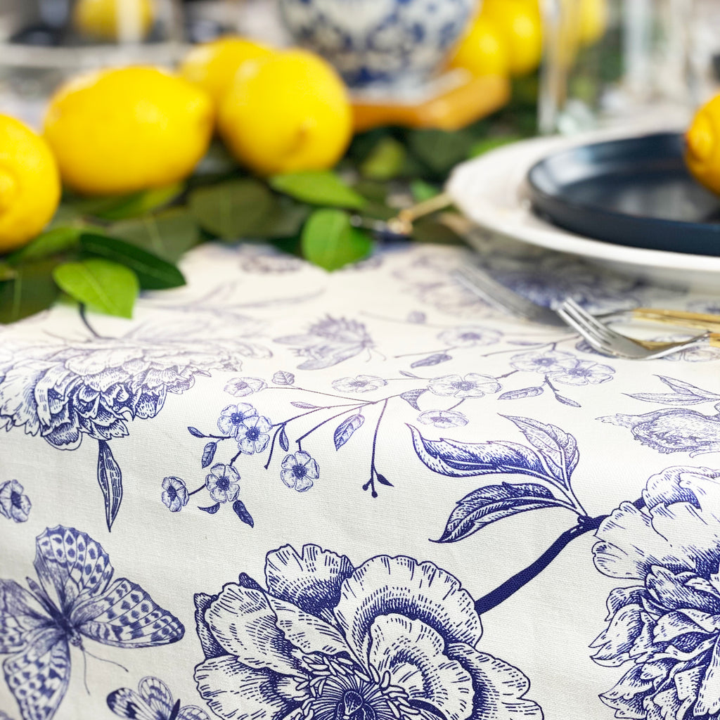 Fresh Lemon Mother's Day Tablescape with Wipeable tablecloth