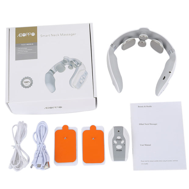 4D Pulse Heated 3 Mode and 15 Speeds Rechargeable Neck Massager Relieve Pain - Glorry Shop