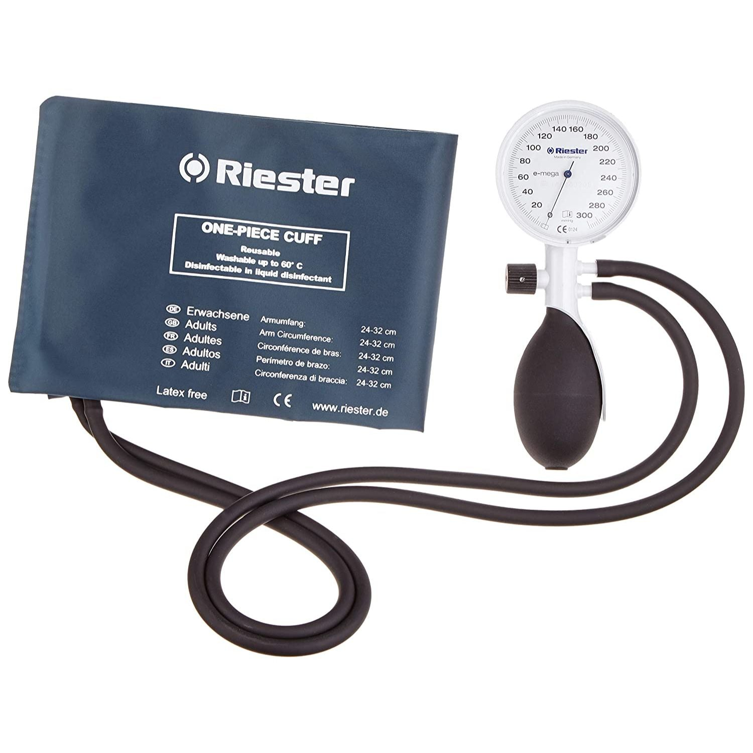 Riester E-Mega 2-Tube Sphygmomanometer Set With Disinfectable One-Piece Cuff
