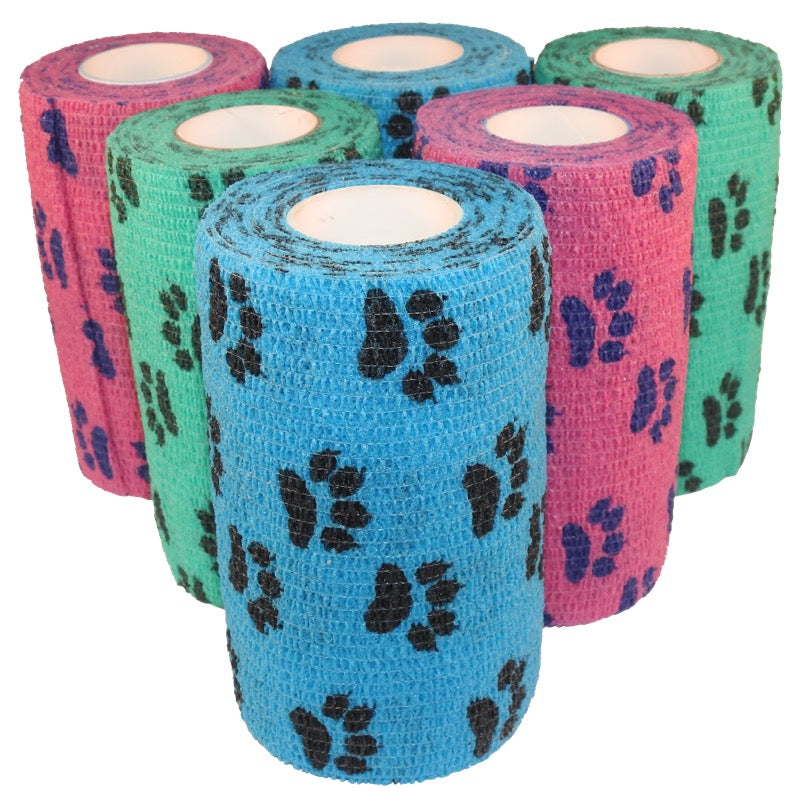 Paw Print Cohesive Veterinary Bandage Tape 10cm x 4.5m (6 Pack) Mixed - Australia