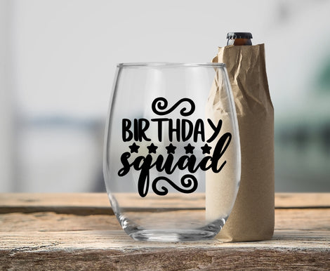 Birthday Designs Wine Glasses