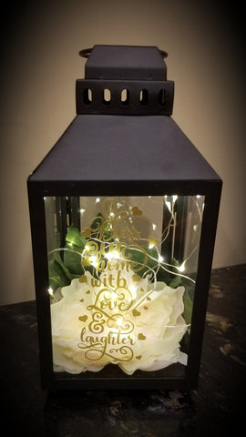 Lantern Centerpiece with Fairy lights - Our Home is Blessed with Love & Laughter - thegiftkornershop