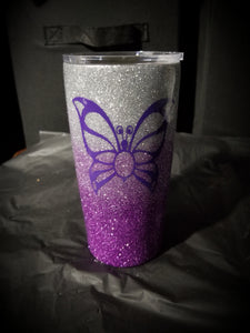 Glitter Tumbler Cup - Butterfly (Personalize & Customize)