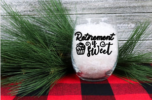 Stemless Wine Glass - Retirement is Sweet - thegiftkornershop