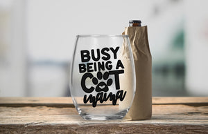 Stemless Wine Glass - Busy being a Cat Mama - thegiftkornershop