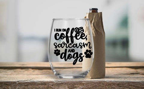 Stemless Wine Glass - I run on Coffee Sarcasm and Dogs - thegiftkornershop