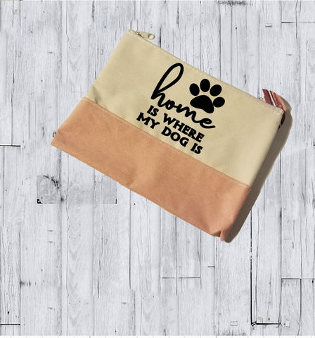 Faux Suede Cosmetic Bags - Home is where my Dog is - thegiftkornershop