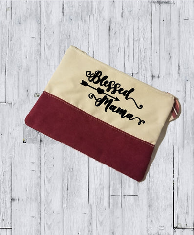 Faux Suede Cosmetic Bags - Blessed Mama - thegiftkornershop