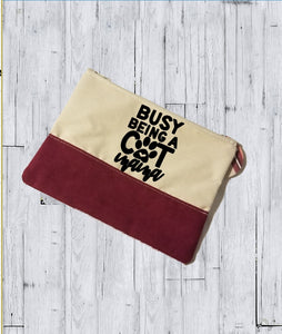 Faux Suede Cosmetic Bags - Busy being a Cat Mama - thegiftkornershop
