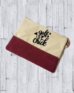 Faux Suede Cosmetic Bags - Golf Chick - thegiftkornershop