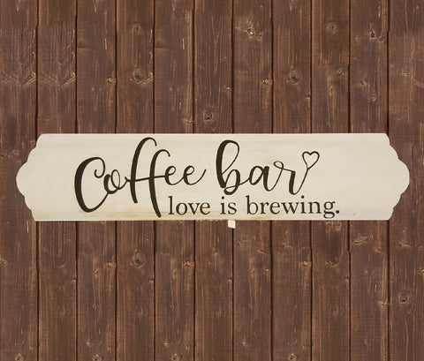 Home Wood Sign Wall Decor - Coffee Bar love is brewing - thegiftkornershop