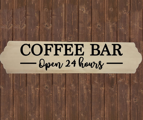 Home Wood Sign Wall Decor - Coffee Bar Open 24 hours - thegiftkornershop