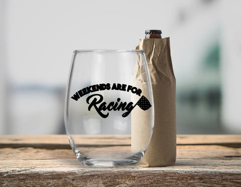 Stemless Wine Glass - Weekends Are For Racing - thegiftkornershop