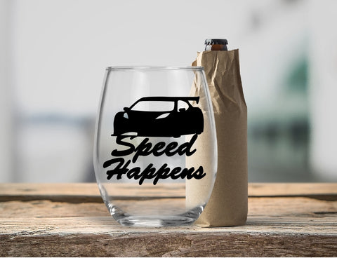 Stemless Wine Glass - Speed Happens - thegiftkornershop