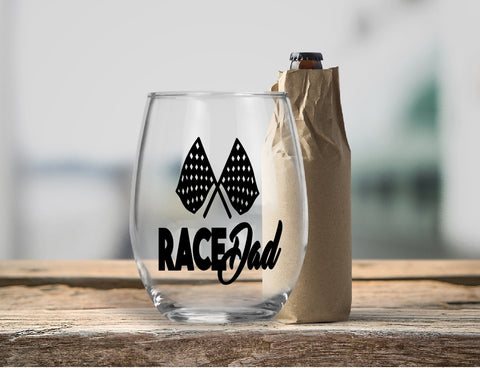 Stemless Wine Glass - Race Dad - thegiftkornershop
