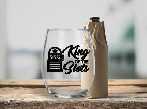 Stemless Wine Glass - King Of The Slots - thegiftkornershop
