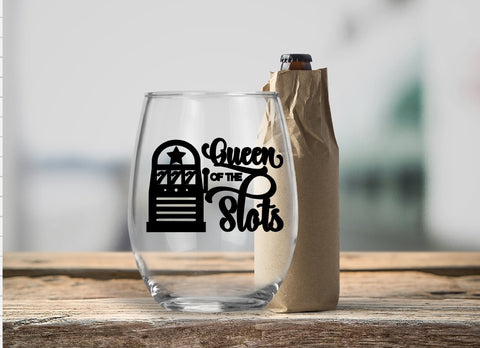 Stemless Wine Glass - Queen Of The Slots - thegiftkornershop