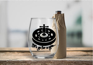 Stemless Wine Glass - Let's Go For A Spin - thegiftkornershop