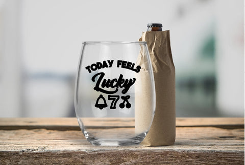 Stemless Wine Glass - Today Feels Lucky 7 - thegiftkornershop