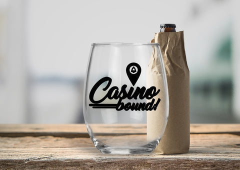 Stemless Wine Glass - Casino Bound - thegiftkornershop