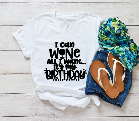 V-Neck T-Shirt - I Can Wine All I Want Its My Birthday - thegiftkornershop